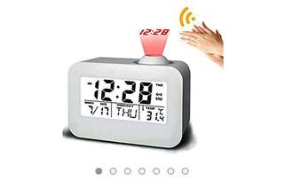 446• Talking Projection Alarm Clock, leapara Projection Clock Ceiling Clocks Time Projector, Digital Snooze Projection Alarm Clock, Travel Alarm Clock, LED Display Dual Alarm for Home Bedroom Travel(White)