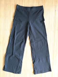 PRELOVED women's solid black comfy cotton wide leg long pants - in very good condition