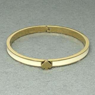 Kate Spade New New York Sample Bangle 白色配金色開口扣手鈪 手環 直徑5.6 cm