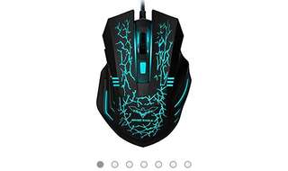 476•HAVIT HV-MS672 3200DPI Wired Mouse, 4 Adjustable DPI Levels, 800/1200/2400/3200DPI, 7 Circular & Breathing LED Light, 6 Buttons (Black)