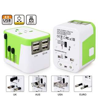 New 4 USB Port All in One Universal International Plug Adapter With Bag World Travel AC Power Charger Adaptor with AU US UK EU Plug
