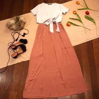 Forever 21 Old Rose Satin Maxi Skirt