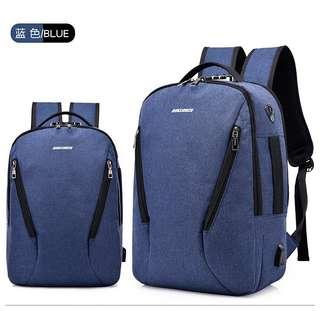 🚚 【Q夫妻】 backpack 商務防盜款 連接USB充電接口 手提雙肩兩用包 後背包 電腦包 藍色 #B1005-3