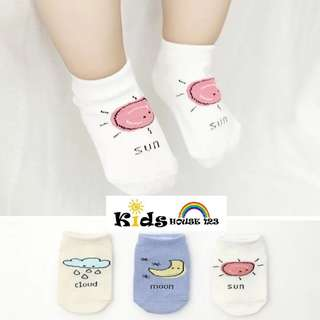 🚚 3-pair Cute Moon/Sun/Cloud Graphic Socks for Baby and Toddler (0-4 yrs) O012
