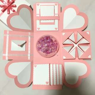Pink X White Love/Birthday Explosion Box