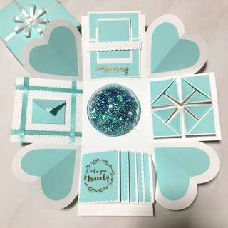 Turquoise X White Birthday/Love/Anniversary Explosion Box (Ver 1)
