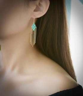 🚚 美國14k不褪色鍍金設計款流蘇耳環 湖北原礦綠松石圓珠3.5毫米 會略有鐵線) 耳環總高度70mm,防過敏不褪色 平均每對重2.6g