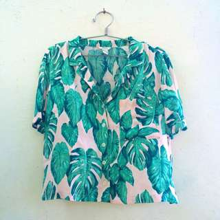 Forever 21 Leaf Print Button Down