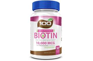 [IN-STOCK] Pure Biotin 10,000 MCG - Maximum Strength Vitamin B - Complex Supplement to Reduce Hair Loss, Improve Hair, Skin and Nail Health for Women and Men– 3 Month Supply- By 100 Naturals