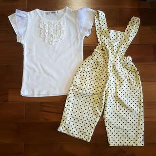 Girl top set overall cream