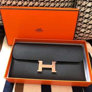 Hermes Constance Wallet 黑色epsom皮玫瑰金釦c刻