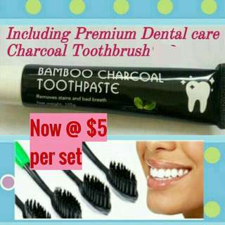 100% Natural Whitening Bamboo Charcoal Toothpaste (105g) with Premium Dental Care Charcoal Toothbrush.