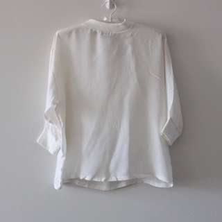 Acne ivory silk top blouse