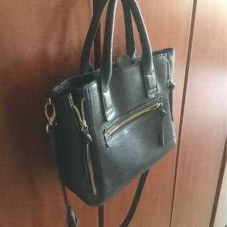 Mango Black Faux Leather Handbag