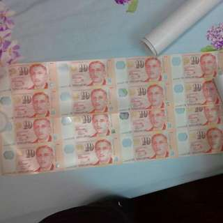 2 Pieces Singapore 8 In 1 $10 Uncut Note, Both For $579