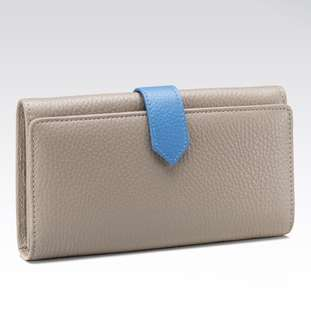Fabriano taupe gray long leather wallet
