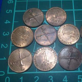 Ten pieces lot of 1962 Malaysia and British Borneo coins