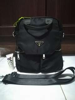 2-Way Prada Black Backpack Bag Class A