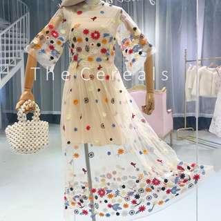 TC2599 Korea Flowers Embroidery Sheer Dress (Inner Included)