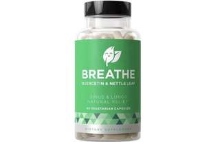 [IN-STOCK] Eu Natural BREATHE Sinus & Lungs Breathing - Fact-acting Strength, Seasonal Protection, Nasal Congestion, Bronchial Wellness - Non-Drowsy Formula with Quercetin & Nettle Leaf - 60 Vegetarian Soft Capsules