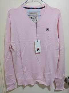 Fila pink cotton sweater 粉紅 棉質 v領 冷衫