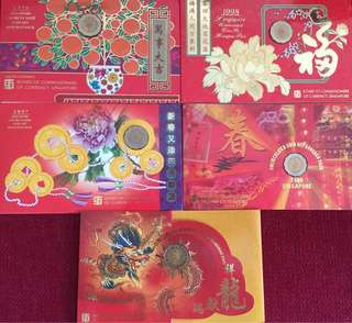 Singapore HongBao Unc Coin Sets 1996 1997 1998 1999 2000