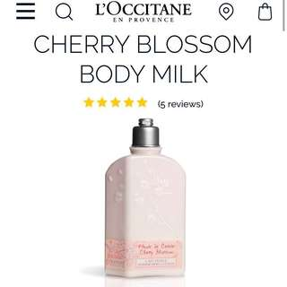 Loccitane cherry blossom milk body lotion