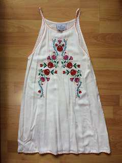 White Embroidered Halter Shift Dress
