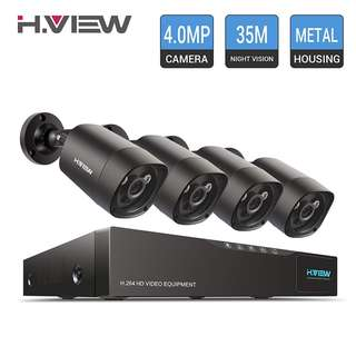 896. H.View 4.0MP Surveillance Camera System Including 5.0MP 4 Channel DVR and 4x1440P Security Cameras Indoor/Outdoor Home Security Camera System