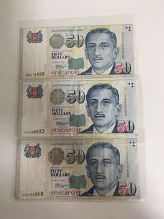 Singapore $50 notes with nice number signed by LHL