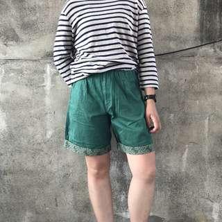 🚚 🌴90s翡翠綠變形蟲拼接印花復古高腰短褲 女款Vintage 日本帶回古著