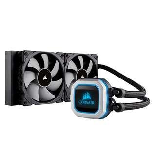 CORSAIR HYDRO SERIES H100i PRO RGB AIO Liquid CPU Cooler, Dual 120mm ML Series PWM Fans, Advanced RGB Lighting and Fan Software Control