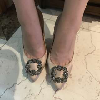 韓版超美鑽石裸色高跟鞋 38.5