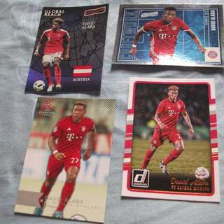 David Alaba Bayern Munich/Austria Topps/Panini trading cards for sale/trade (Lot of 4 cards)