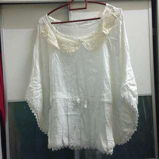 white batwing blouse