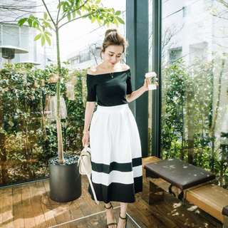 🚚 正韓製 puree 法式雙色百摺雪紡一片中長裙