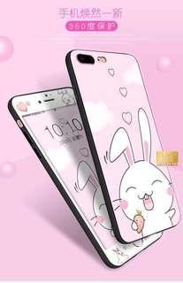 iphone6s卡通鋼化膜蘋果7Plus的手機殼彩膜8全屏防爆膜X可愛男女款6指環