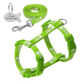Nylon Cat Harness and Leash glow in the Dark Set with ID Tags ~ GREEN