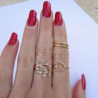 4pcs. Fashion Gold Leaf Heart Vintage Midi Ring Set