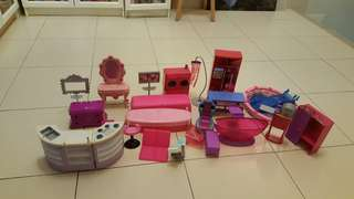 Barbie dolls and ' furniture'