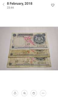 Singapore Old $1 Orchid Note 3 Pcs