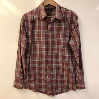 Men Alexander Mcqueen burgandy checkers shirts size 48