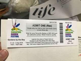 2 tickets to singapore garden festival