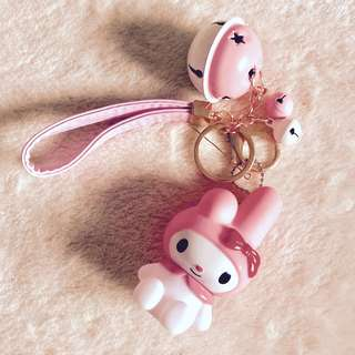 MY MELODY KEYCHAIN WITH CHARM, BELLS AND STRAP