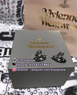 (最後1對) 購自英國 2017春夏 Vivienne Westwood JACK 合金 迷你 國旗 土星耳環 (保証正貨及全新) 可以情侶款 黑灰色