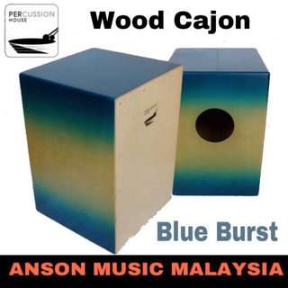 Percussion House Wood Cajon, Blue Burst
