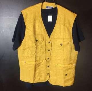 🚚 新品暗黃色多口袋工作風釣魚背心