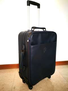 "4 wheels PVC Luggage 19"" Cabin Hand Carry size Navy Blue color"