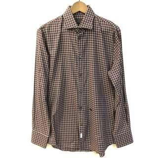 Men Dsquared burgandy brown checkers shirt size 52