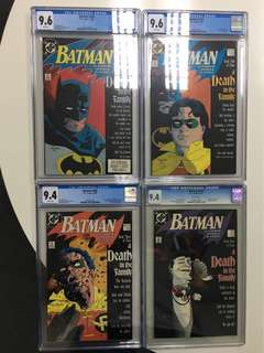Batman A Death In The Family Set Of 4 CGC Comic Books - #426 (CGC 9.6), #427 (CGC 9.6), #428 (CGC 9.4) & #429 (CGC 9.4)